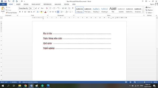 Kết quả sau khi dùng cách viết chữ trên dấu chấm trong word
