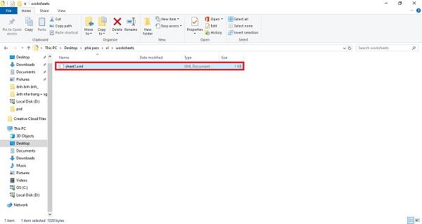 Chọn file sheet.xml rồi nhấn Edit
