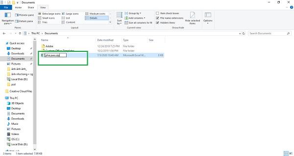 Chọn Rename -> Đổi tên file xlsx thành zip -> Ấn yes để hoàn thành