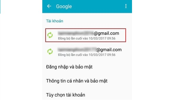Chọn tài khoản Gmail muốn xỏa khỏi thiết bị
