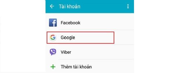 """Chọn tài khoản là """"Google"""""""