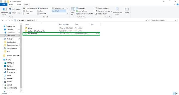 Lưu file Excel bị khóa pass về máy