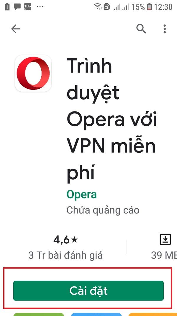 Nhấn cài đặt để tải được ứng dụng Opera về máy